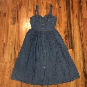 NEW Esprit chambray denim flare dress 13/14